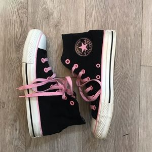 Preloved Black and Pink Chuck Taylors